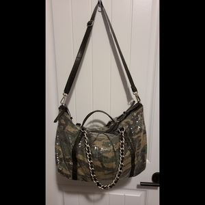 Express camo sequin handbag purse large camouflage